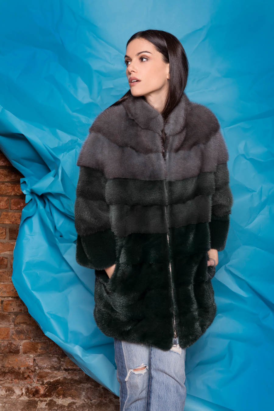 11 P1703V 88 01 giovi pelliccia fur green grey - Fall Winter 2019-20