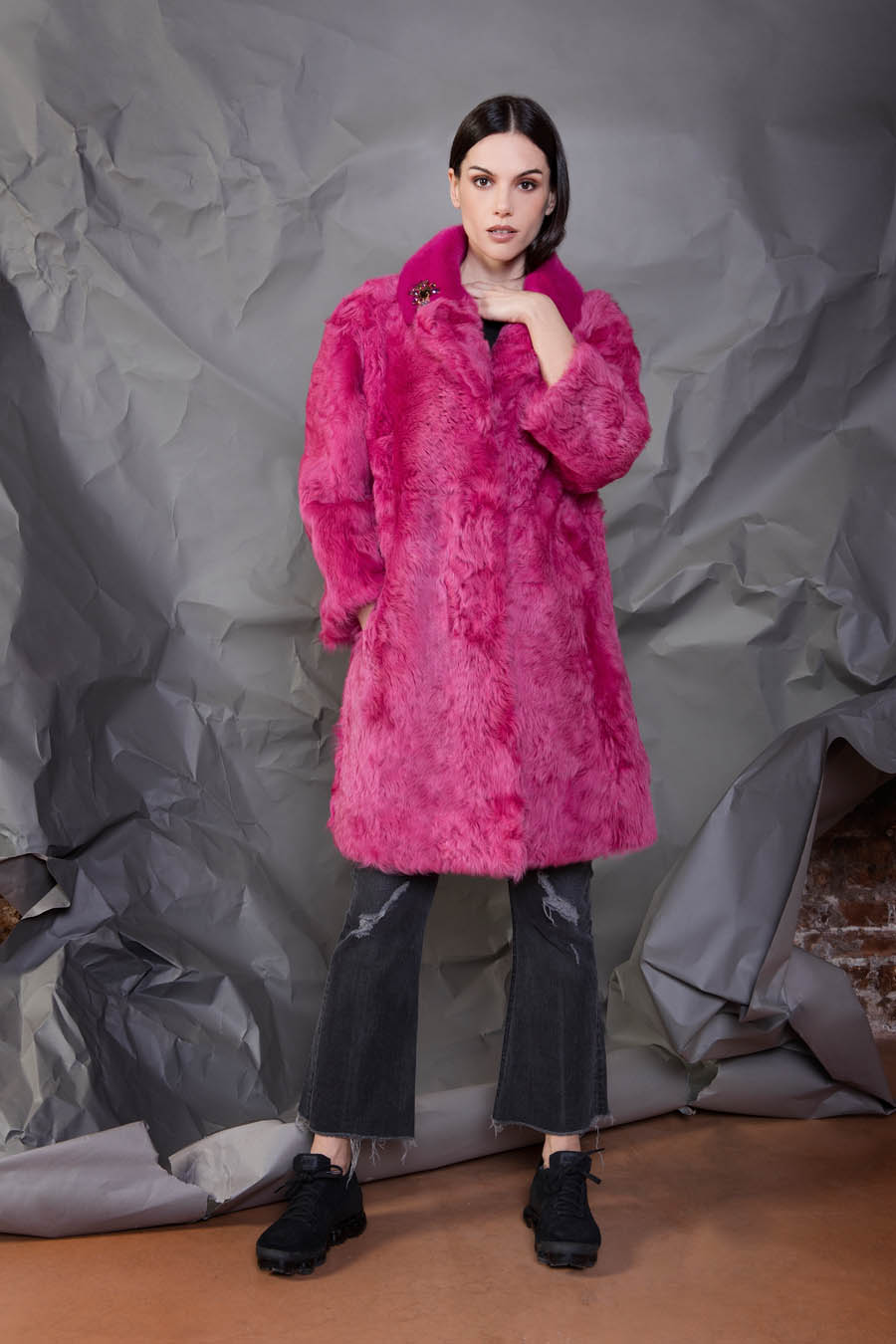 17 P1905T 86 01 giovi pelliccia fur magenta - Fall Winter 2019-20