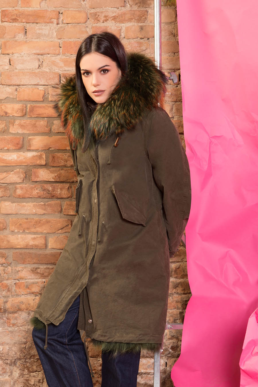PK19260C 9494 02 gold rush woman parka fur green - Fall Winter 2019-20