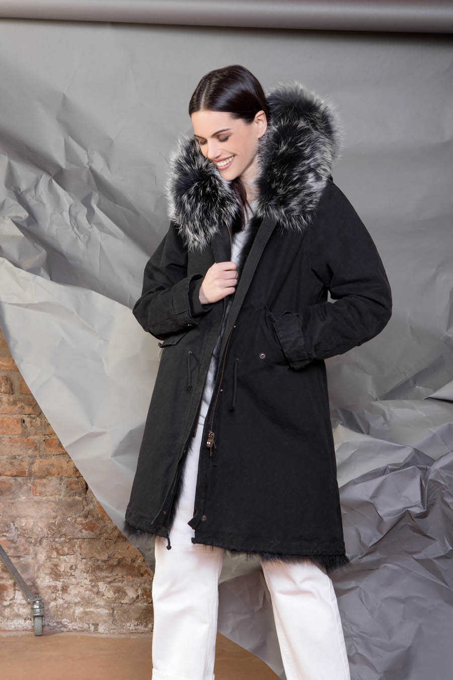 PK19260C 9999 01 gold rush woman parka fur black - Fall Winter 2019-20