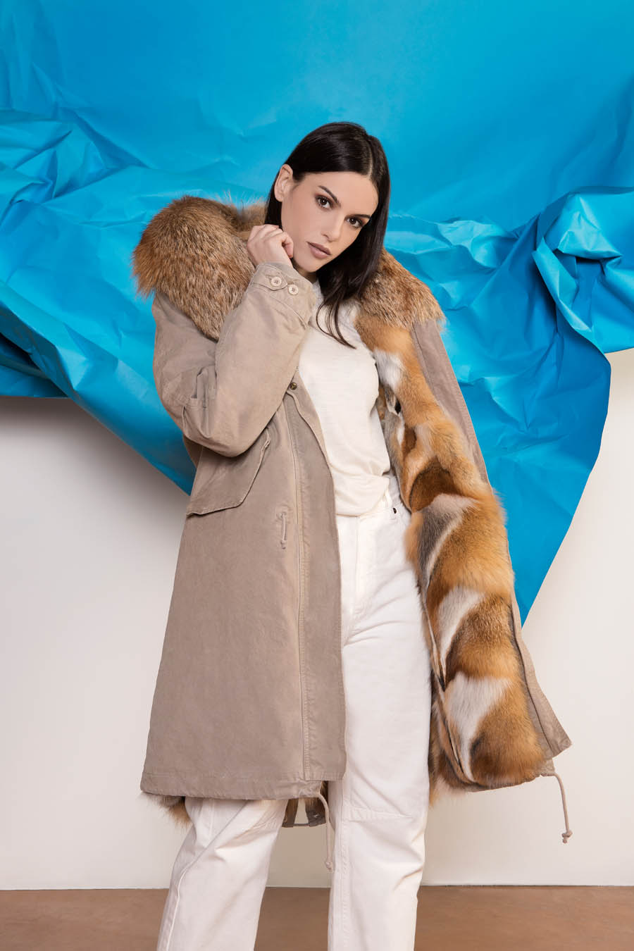 PK19260VO 0285 01 gold rush woman parka fur beige - Fall Winter 2019-20