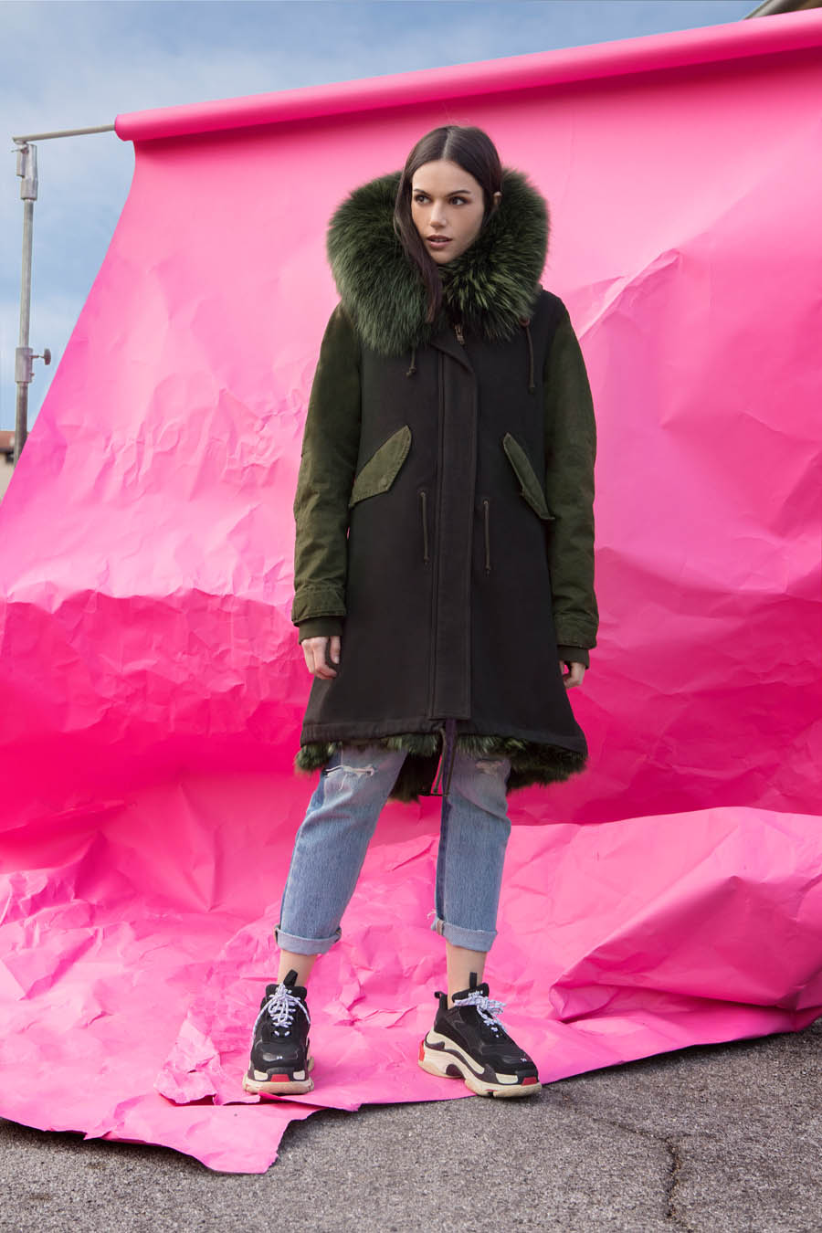 PK19262VO 9494 01 gold rush woman parka fur green - Fall Winter 2019-20