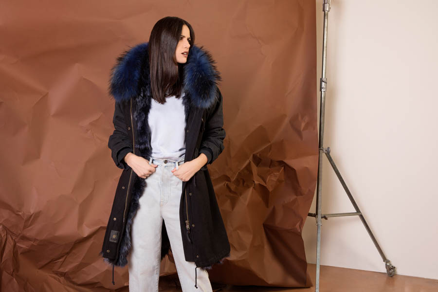 PK19262VO 9696 01 gold rush woman parka fur dark blue - Fall Winter 2019-20