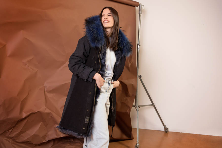 PK19262VO 9696 02 gold rush woman parka fur dark blue - Fall Winter 2019-20