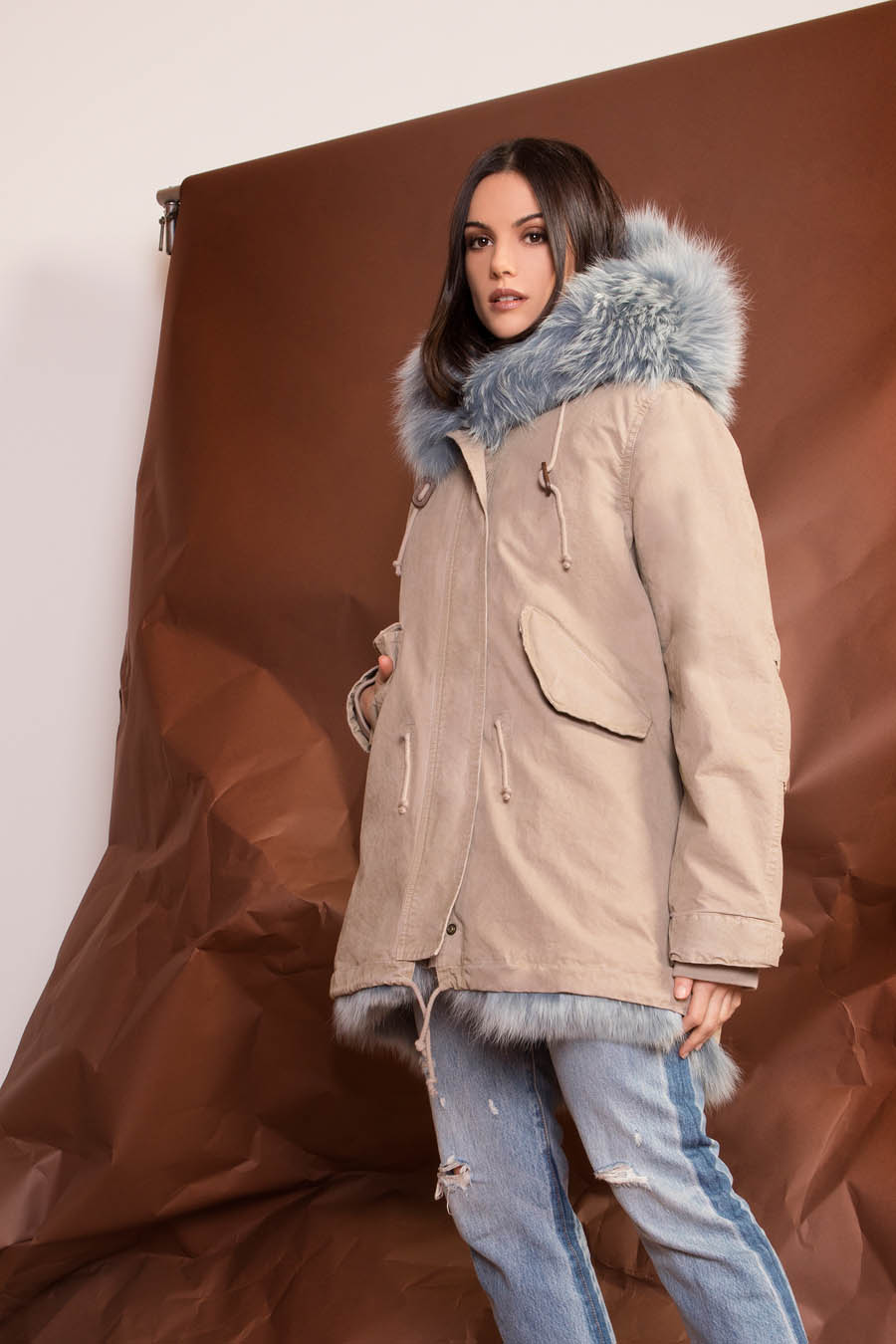 PK19263C 0216 02 gold rush woman parka fur sand - Fall Winter 2019-20