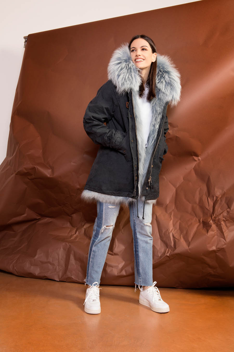 PK19263C 9616 02 gold rush woman parka fur blue - Fall Winter 2019-20