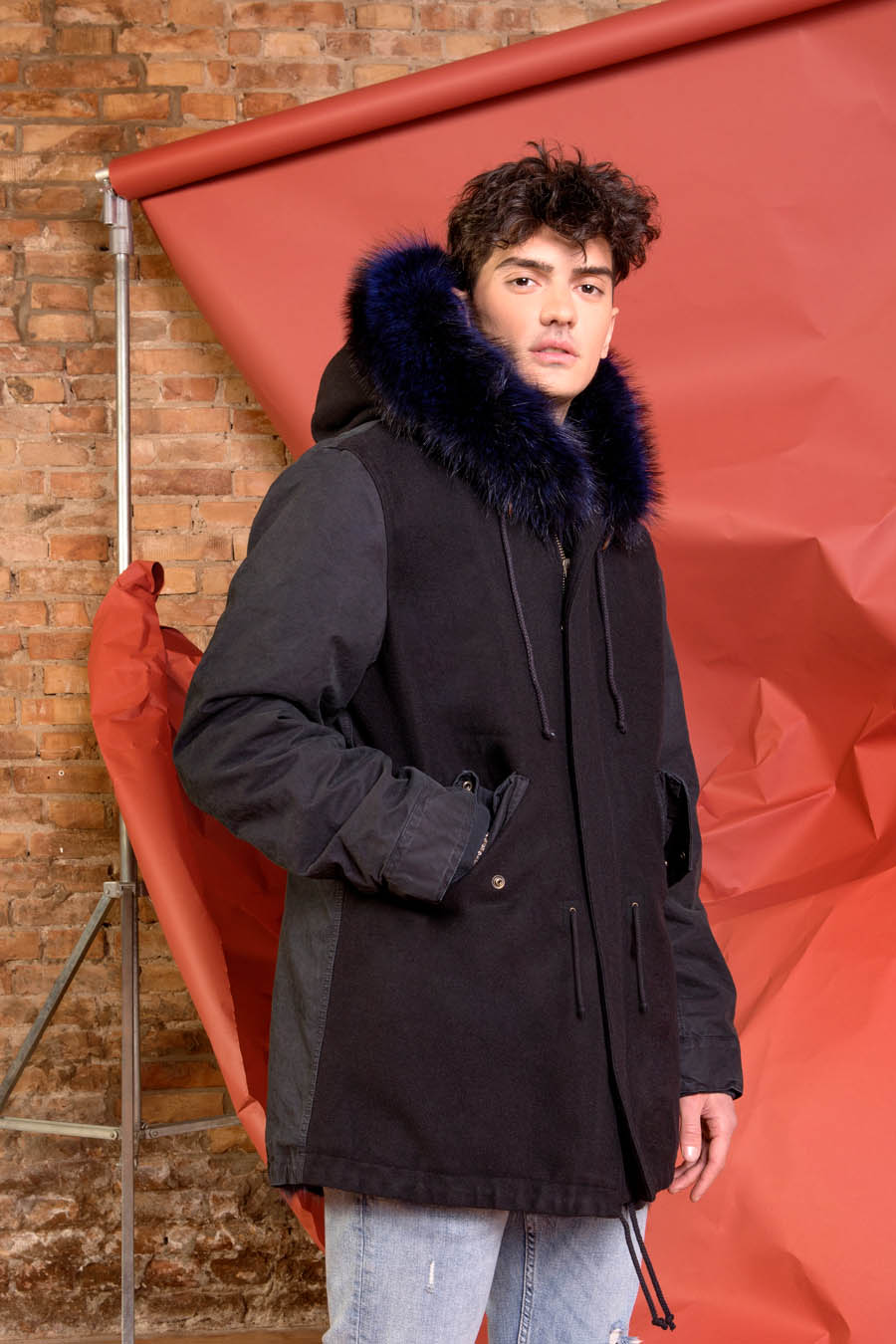 PK19303VO 9696 01 gold rush man parka fur blue - Fall Winter 2019-20